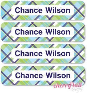 waterproof name labels - set of 24 - MADRAS PLAID BLUE