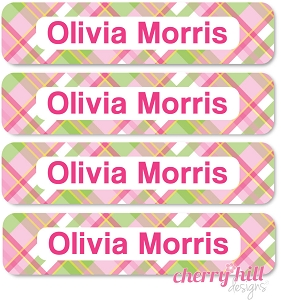 waterproof name labels - set of 24 - MADRAS PLAID PINK