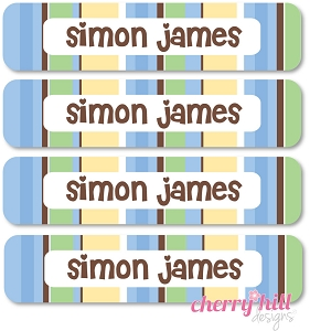 waterproof name labels - set of 24 - NAUTICAL BLUE