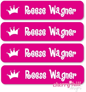 waterproof name labels - set of 24 - PRINCESS