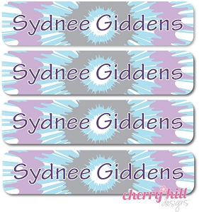 waterproof name labels - set of 24 - TIE DYE PURPLE