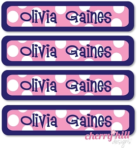 waterproof name labels - set of 24 - SAILOR PINK