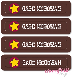 waterproof name labels - set of 24 - WILD WEST