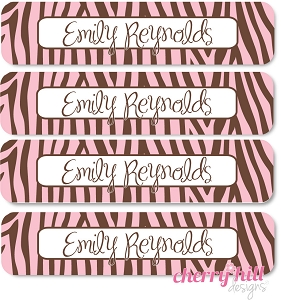 waterproof name labels - set of 24 - ZEBRA PINK
