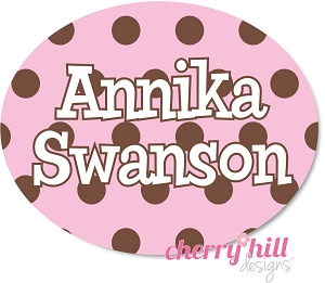 waterproof name labels - set of 66 - CHOCOLATE DOTS PINK