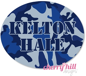 waterproof name labels - set of 66 - CAMO BLUE