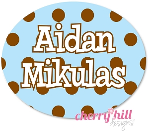 waterproof name labels - set of 66 - CHOCOLATE DOTS BLUE