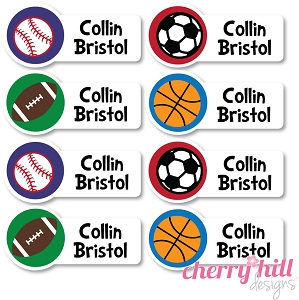 small iron-on clothing name labels - set of 56 - SPORTS