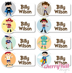 waterproof name labels - set of 48 - CHARACTER BOYS