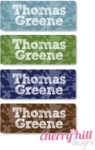 waterproof name labels - set of 72 - CAMO