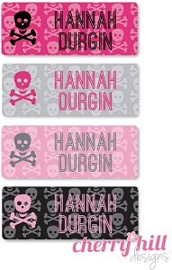 waterproof name labels - set of 72 - PINK SKULLS