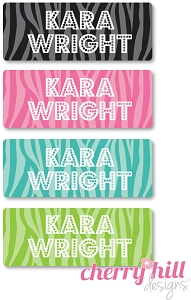 waterproof name labels - set of 72 - ZEBRA
