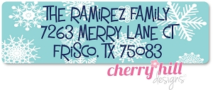 return address labels - set of 75 - SNOWFLAKES