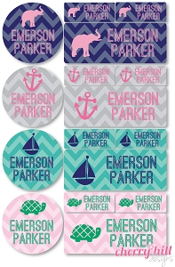 waterproof labels combo pack - set of 64 - CHEVRON