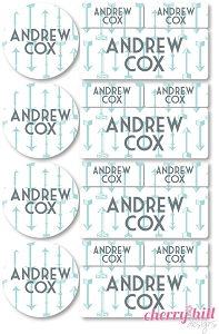 waterproof labels combo pack - set of 64 - ARROWS BLUE