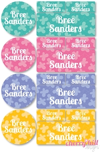 waterproof labels combo pack - set of 64 - BUTTERFLY