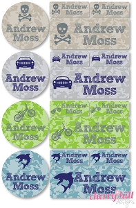 waterproof labels combo pack - set of 64 - CAMO ICONS