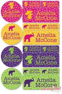 waterproof labels combo pack - set of 64 - CHEETAH