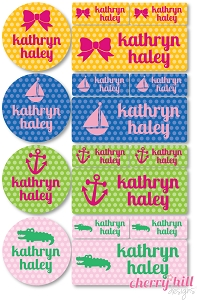 waterproof labels combo pack - set of 64 - POLKA DOT