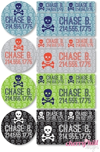 waterproof labels combo pack - set of 64 - SKULLS