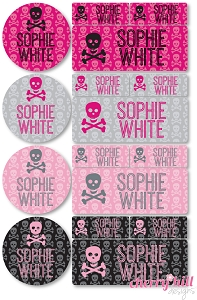 waterproof labels combo pack - set of 64 - PINK SKULLS