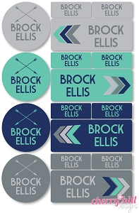 waterproof labels combo pack - set of 64 - TAKE FLIGHT NAVY