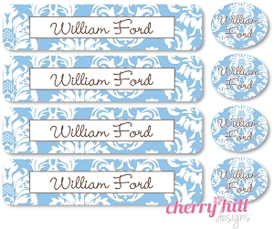 waterproof labels combo pack - set of 48 - CALAIS BLUE