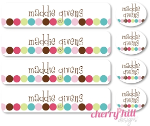 waterproof labels combo pack - set of 48 - DOT DOT DOT PINK