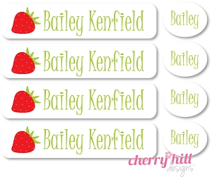 waterproof labels combo pack - set of 48 - STRAWBERRY