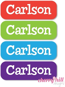 waterproof name labels - set of 64 - BRIGHTS