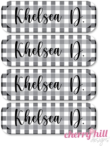waterproof name labels - set of 64 - BUFFALO CHECK