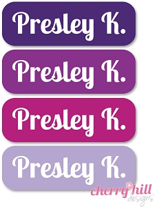 waterproof name labels - set of 64 - TOTES PURPLE