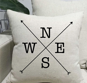 Weather Vane Compass Linen Throw Pillow