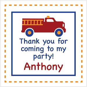 Personalized Gift Tag Stickers - Firetruck - Set of 24