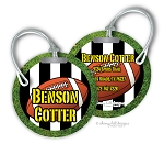 Personalized round premium bag tag - FOOTBALL