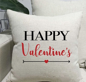 Happy Valentine's Linen Throw Pillow