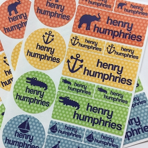 waterproof labels combo pack - set of 64 - POLKA NAVY