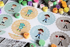 Valentine BOY scallop labels - set of 24