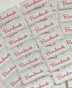 Iron-on Clothing Name Labels - set of 42 - STITCHED IN PINK