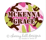 waterproof name labels - set of 66 - CAMO PINK