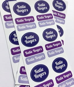 Peel & stick clothing name labels - set of 72 - TOTES PURPLE