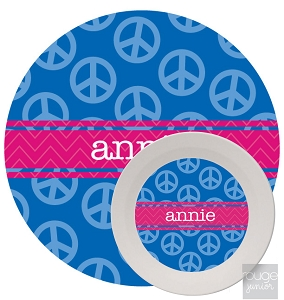 Personalized Kids Melamine Dinnerware - PEACE