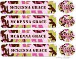 waterproof name label packs - set of 48 - CAMO PINK