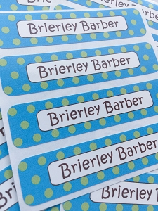 waterproof name labels - set of 24 - CONFETTI AQUA