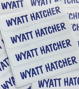 waterproof name labels - set of 24 - PLAIN BLUE