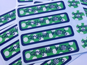 waterproof name label packs - set of 48 - SAILOR GREEN
