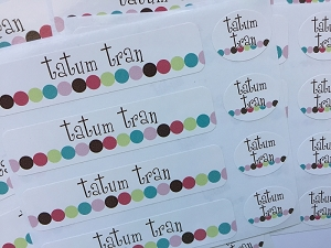 waterproof name label packs - set of 48 - DOT DOT DOT PINK