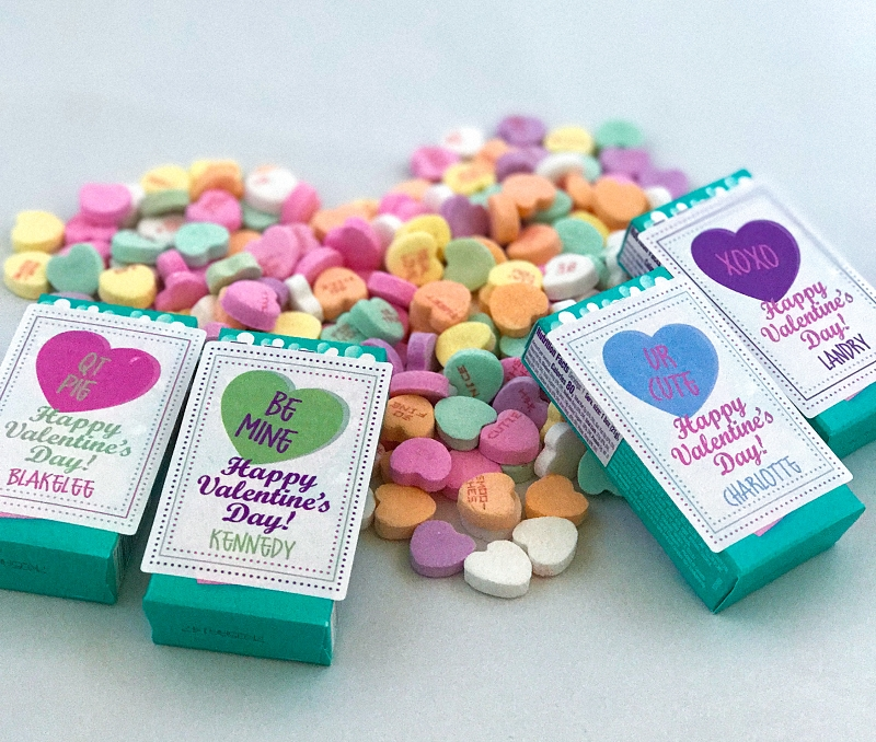 Conversation Heart Valentine labels - set of 24