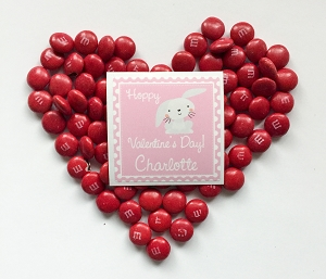 hoppy valentine's day Valentine labels - set of 24