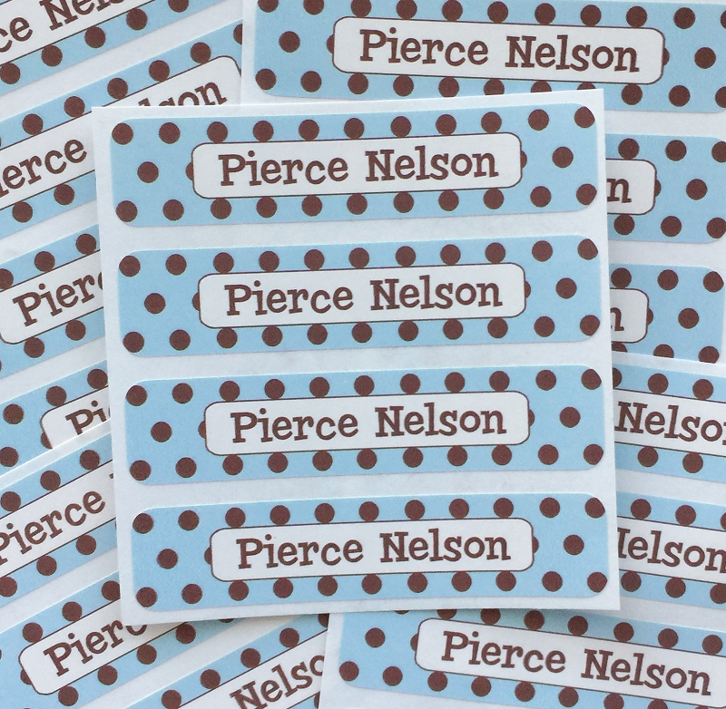 waterproof name labels - set of 24 - CHOCOLATE DOTS BLUE